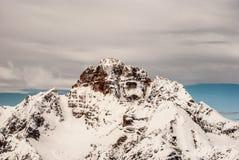 Hohe Gails peak from Monte Piana peak in winter Dolomites mountains in Italy. Majestic Hohe Gaisl Croda Rossa d`Ampezzo mountain peak from Monte Piana peak in Stock Photography