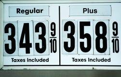 Hohe Gaspreiszeichen lizenzfreie stockbilder