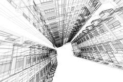 Hohe Gebäudestruktur-Architekturzusammenfassung, 3d Illustration, Architekturzeichnung Lizenzfreie Stockfotos