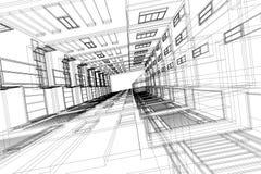 Hohe Gebäudestruktur-Architekturzusammenfassung, 3d Illustration, Architekturzeichnung Stockfotografie