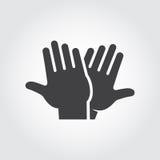 Hohe Ikone fünf Schwarzes flaches Bilddagramm von klatschenden Händen - Gruß, begrüßend und feiern Symbol von erfolgreichen Leute Lizenzfreie Stockfotografie