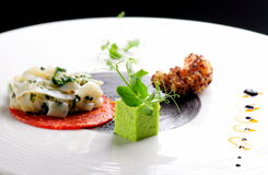 Hohe Küche, feinschmeckerischer Aperitif, Kalmar, Garnele Tempura Lizenzfreies Stockfoto