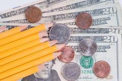 Hohe Kosten Schulezubehör Stockfoto