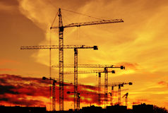 Hohe Kräne für Bau Lizenzfreies Stockbild