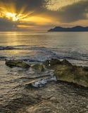 Hohe Landschaft der Mallorca-Sonnenuntergangansicht Stockfotos