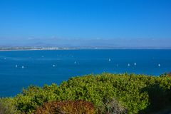 Hohe Panorama-Ansicht Bayside an Cabrillo-Monument in San Diego lizenzfreie stockfotografie