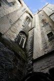 Hohe Schloss-Wand von unterhalb Lizenzfreie Stockfotos