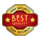 Hohe Sicherheit u. bestes Qualitäts-Logo Hohe Sicherheit u. bestes Qualitäts-Logo lokalisiert auf weißem Hintergrund Stockbilder