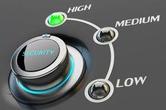 Hohe Stufe des Schutz- und Sicherheitsabstufungskonzeptes, Computerbrandmauereinstellungen Stockbild