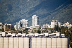 Hohe weiße Speichertürme auf den Docks Lizenzfreie Stockbilder