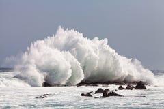 Hohe Welle, die auf den Felsen bricht lizenzfreie stockfotografie
