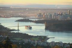 Hohe Winkelsicht Vancouvers, Britisch-Columbia stockbild