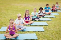 Hohe Winkelsicht von den Kindern, die Yoga tun lizenzfreie stockfotografie