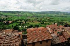 Hohe Winkelsicht von Toskana-Hügeln Stockbild