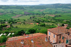 Hohe Winkelsicht von Toskana-Hügeln Lizenzfreies Stockbild