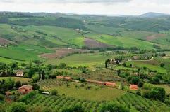 Hohe Winkelsicht von Toskana-Hügeln Lizenzfreie Stockfotografie