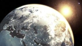 In hohem Grade ausführlich 3d übertragen unter Verwendung der Satellitenbilder NASAs Planetenerde-Europa-Zone mit Nachtzeit und S stock footage