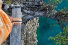In hohem Grade ausführliche Foto-Frauen-Beine Mädchen, das hinunter Cliff Old Tree schaut Blaues Ozean-Wasser unscharfer Hintergr Stockfoto