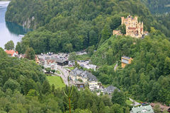 Hohen Schwangau Castle and village below. Stock Photography