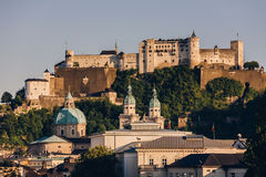 Hohensalzburg Castle. Located atop of Festungsberg in Salzburg, Austria stock image