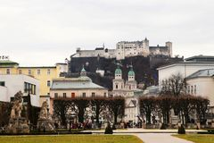 Hohensalzburg castle from the Mirabell gardens Stock Photos