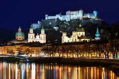 Hohensalzburg Castle and Salzburg Cathedral in Germany Stock Images