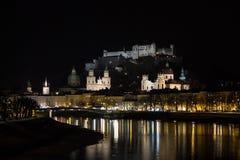 Hohensalzburg Castle in Salzburg at night, Austria, 2015 Royalty Free Stock Image