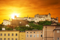 Hohensalzburg Castle in Salzburg at sunset Stock Photography