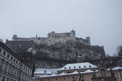 Hohensalzburg Castle in winter time. Salzburg. Austria. royalty free stock photo
