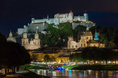 Hohensalzburg fortress and cathedral at night. Salzburg. Austria Stock Images