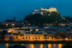 Hohensalzburg Fortress at night, Austria Stock Images