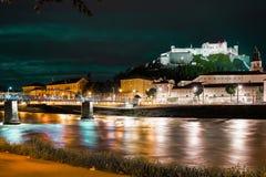 Hohensalzburg fortress at night. Salzburg. Austria Stock Image