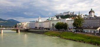 Hohensalzburg. River in Salzburg. Hohensalzburg in background royalty free stock images