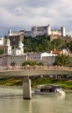 Hohensalzburg. Salzach with Hohensalzburg in background. Salzburg royalty free stock images