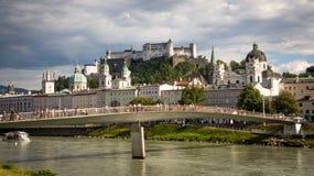 Hohensalzburg. Salzach with Hohensalzburg in background. Salzburg royalty free stock photo