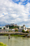 Hohensalzburg. Salzach with Hohensalzburg in background. Salzburg royalty free stock image