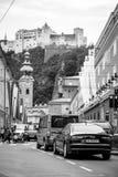 Hohensalzburg. View on Hohen Salzburg near Getreidegasse. Salzburg stock images