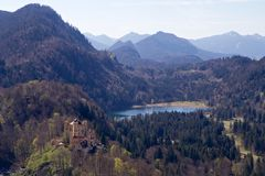 Hohenschwangau Castle and the Alps, Bavaria Royalty Free Stock Photography