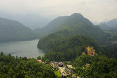 Hohenschwangau Castle and Alpsee lake Royalty Free Stock Photos