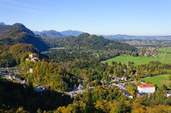Hohenschwangau Castle and Bavarian Alps Stock Image