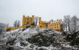Hohenschwangau Castle covered in snow. Hohenschwangau Castle with fresh cover of snow Royalty Free Stock Photos