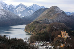 Hohenschwangau castle in Germany. Hohenschwangau castle with surrounding lake Stock Photos