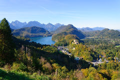 Hohenschwangau Castle and Lake Alp Stock Image