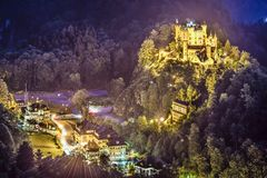 Hohenschwangau Castle. At night in the Bavarian Alps of Germany Stock Images