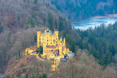Hohenschwangau Castle Schloss aerial view with lake and bavarian alps Stock Photo