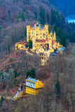 Hohenschwangau Castle Schloss aerial view with lake and bavarian alps Stock Photography