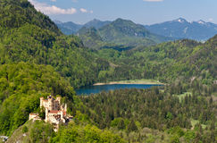 Hohenschwangau Castle and Schwansee lake Stock Images
