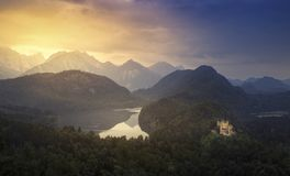 Hohenschwangau Castle during sunset royalty free stock photos