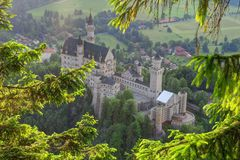 Neuschwanstein Castle from above Stock Images