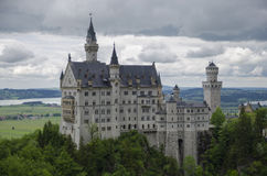 Hohenschwangau,  Germany- May 24, 2015: View of Neuschwanstein Castle in Bavaria, near Munich, on a stormy day. Stock Images
